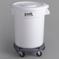 Lavex Janitorial 20 Gallon White Round Ingredient Bin / Commercial Trash Can with Lid and Dolly