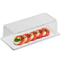 Cal-Mil 3654-15M-SET 6 1/2 inch x 13 3/4 inch White Melamine Tray with Cover