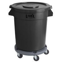 Lavex Janitorial 20 Gallon Black Round Commercial Trash Can with Lid and Dolly