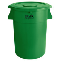 Lavex Janitorial 44 Gallon Green Round Commercial Trash Can and Lid