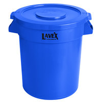 Lavex Janitorial 20 Gallon Blue Round Commercial Trash Can and Lid