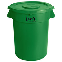 Lavex Janitorial 32 Gallon Green Round Commercial Trash Can and Lid