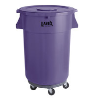 Lavex Janitorial 44 Gallon Purple Round Commercial Trash Can with Lid and Dolly