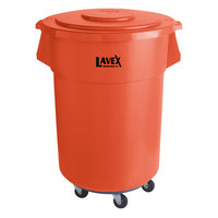 Lavex Janitorial 55 Gallon Orange Round Commercial Trash Can with Lid and Dolly