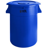 Lavex Janitorial 44 Gallon Blue Round Commercial Trash Can and Lid