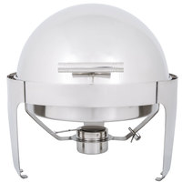 Choice Supreme 6.5 Qt. Round Stainless Steel Roll Top Chafer with Chrome Trim