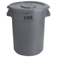 Lavex Janitorial 32 Gallon Gray Round Commercial Trash Can and Lid