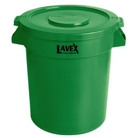 Lavex Janitorial 20 Gallon Green Round Commercial Trash Can and Lid