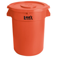 Lavex Janitorial 32 Gallon Orange Round Commercial Trash Can and Lid