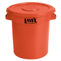 Lavex Janitorial 10 Gallon Orange Round Commercial Trash Can and Lid
