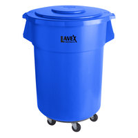 Lavex Janitorial 55 Gallon Blue Round Commercial Trash Can with Lid and Dolly