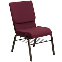 Flash Furniture XU-CH-60096-BYXY56-BAS-GG Burgundy Patterned 18 1/2 inch Wide Church Chair with Communion Cup Book Rack - Gold Vein Frame