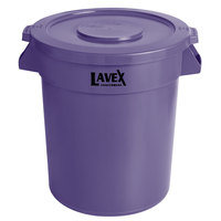 Lavex Janitorial 20 Gallon Purple Round Commercial Trash Can and Lid