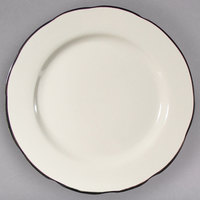 9 inch Scalloped Edge Ivory (American White) Seville China Plate with Black Band - 24/Case