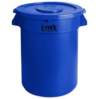 Lavex Janitorial 32 Gallon Blue Round Commercial Trash Can and Lid