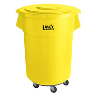 Lavex Janitorial 55 Gallon Yellow Round Commercial Trash Can with Lid and Dolly