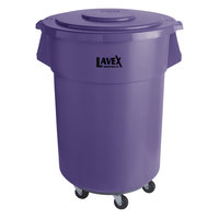 Lavex Janitorial 55 Gallon Purple Round Commercial Trash Can with Lid and Dolly