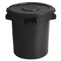 Lavex Janitorial 10 Gallon Black Round Commercial Trash Can and Lid