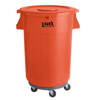 Lavex Janitorial 44 Gallon Orange Round Commercial Trash Can with Lid and Dolly