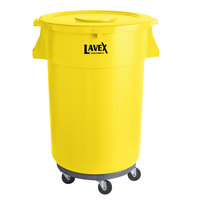 Lavex Janitorial 44 Gallon Yellow Round Commercial Trash Can with Lid and Dolly