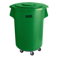 Lavex Janitorial 55 Gallon Green Round Commercial Trash Can with Lid and Dolly