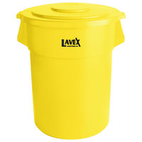 Lavex Janitorial 55 Gallon Yellow Round Commercial Trash Can and Lid