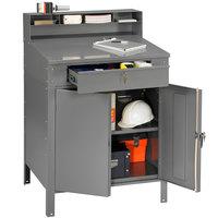 Tennsco SR58MG Medium Gray Steel Cabinet Shop Desk with Enclosed Cabinet - 36 inch x 30 inch x 53 3/4 inch