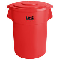 Lavex Janitorial 55 Gallon Red Round Commercial Trash Can and Lid