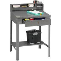 Tennsco SR57MG Medium Gray Steel Open Shop Desk - 34 1/2 inch x 29 inch x 53 3/4 inch