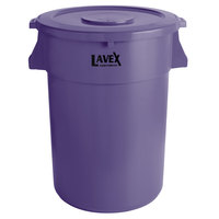 Lavex Janitorial 44 Gallon Purple Round Commercial Trash Can and Lid
