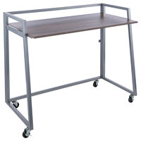 Alera ALEQAD4232GS Quick Assemble 41 3/8 inch x 20 5/8 inch x 36 5/8 inch Gray Oak Laminate Workstation with Silver Steel Base