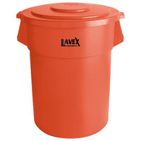 Lavex Janitorial 55 Gallon Orange Round Commercial Trash Can and Lid