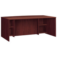 HON BL2111BFNN Basyx BL Series 72 inch x 42 inch x 29 inch Mahogany Laminate Breakfront Desk Shell with Bow Front