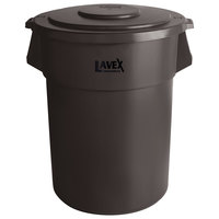 Lavex Janitorial 55 Gallon Brown Round Commercial Trash Can and Lid