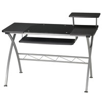 Mayline 972ANT Eastwinds 47 1/4 inch x 27 inch x 34 inch Anthracite Laminate Vision Computer Desk with Black Glass Inset