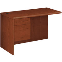 HON 10716LCO 10700 Series 48 inch x 24 inch x 29 1/2 inch Cognac Laminate L Left 3/4 Height Pedestal Workstation Return