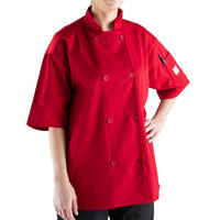 Mercer Culinary Millennia Air Unisex 56 inch 3X Customizable Red Double Breasted Short Sleeve Cook Jacket with Traditional Buttons and Full Mesh Back