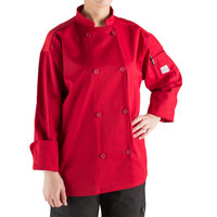 Mercer Culinary Millennia Air Unisex 56 inch 3X Customizable Red Double Breasted Long Sleeve Cook Jacket with Traditional Buttons and Full Mesh Back