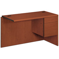 HON 10715RCO 10700 Series 48 inch x 24 inch x 29 1/2 inch Cognac Laminate L Right 3/4 Height Pedestal Workstation Return