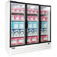 Master Bilt BLG-74-HGP Three Section Swing Glass Door White Merchandiser Freezer - 70.2 Cu. Ft.