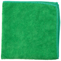 Unger MC400 SmartColor MicroWipe 16 inch x 16 inch Green Light-Duty Microfiber Cleaning Cloth - 10/Pack