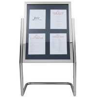 Aarco P-15C Chrome 25 inch x 48 inch Double Pedestal Poster Stand