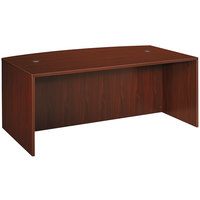 HON BL2111NN Basyx BL Series 72 inch x 42 inch x 29 inch Mahogany Laminate Bow Front Desk Shell