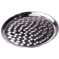 14 inch Stainless Steel Serving / Display Tray with Swirl Pattern - Narrow Rim