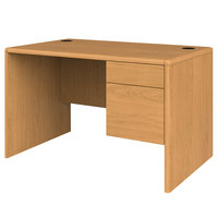 HON 107885RCC 10700 Series 48 inch x 30 inch x 29 1/2 inch Harvest Laminate Right 3/4 Height Pedestal Desk