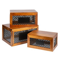 Tablecraft HFCSET3 Farmhouse 3-Piece Acacia Wood Riser Set