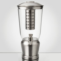 Tablecraft 7515 1.25 Gallon Stainless Steel / Tritan Beverage Dispenser with Infuser / Ice Core