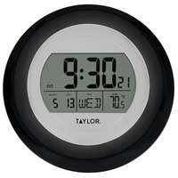 Taylor 1750BK 9 1/4 inch Black Digital Atomic Wall Clock with Thermometer and Calendar