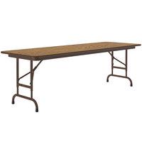 Correll CFA2460M-06 24 inch x 60 inch Medium Oak Light Duty Melamine Adjustable Height Folding Table with Brown Frame