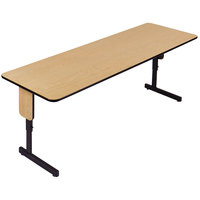 Correll SPA2496PX-16 24 inch x 96 inch Fusion Maple Adjustable Height High Pressure Folding Seminar Table with Panel Legs